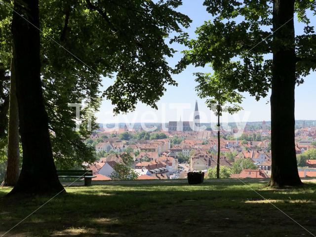 Scenic city view from Regensburg, Germany