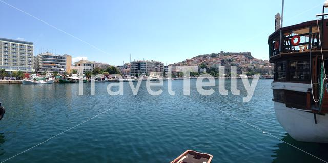 Panorama from kavala harbour in Greece