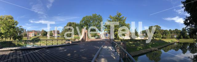 Panorama from the bridge over the canal around Groenlo, The Netherlands