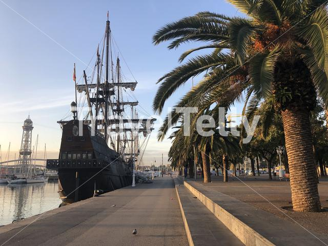 Old historical ship in the port of Barcelona in Spain