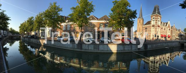 Panorama from a canal in Kampen The Netherlands