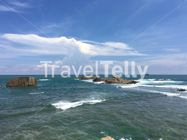 The sea with rocks in front of Galle Sri Lanka