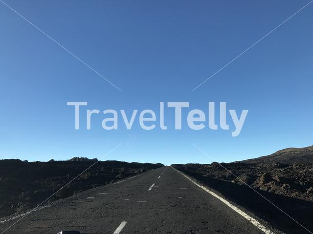 Empty road at Teide National Park in Tenerife the Canary Islands
