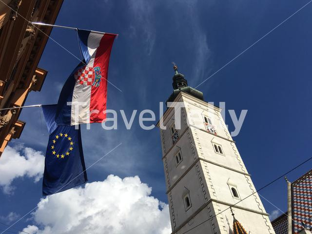 The European and Croation flag next to the St. Mark's Church in the old town of Zagreb Croatia