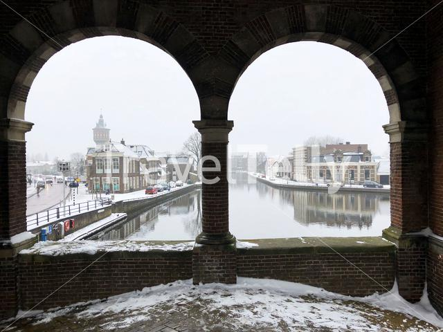 View from the Watergate during winter in Sneek, The Netherlands