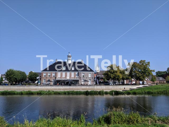 The river vechte through the city Ommen, Overijssel The Netherlands