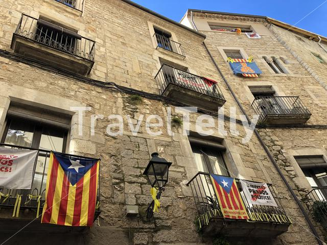 Catalonia flags on balcony in the old town of Girona Catalonia, Spain
