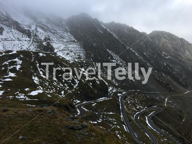 The Transfagarasan mountain road crossing the southern section of the Carpathian Mountains of Romania