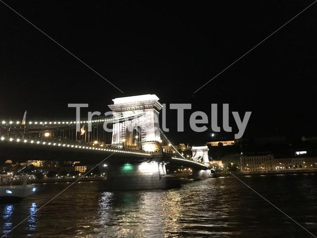 Szechenyi Chain Bridge at night in Budapest Hungary