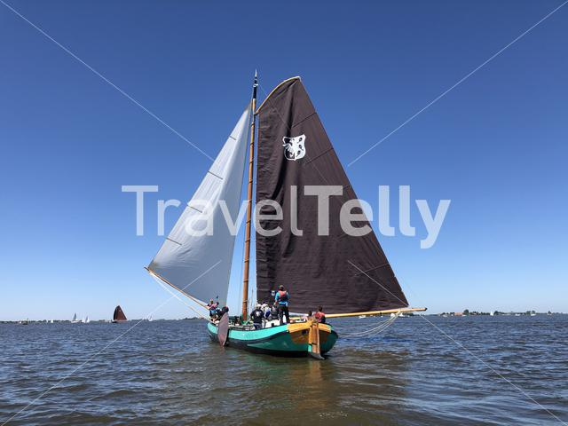 Sailing on a lake in Friesland The Netherlands