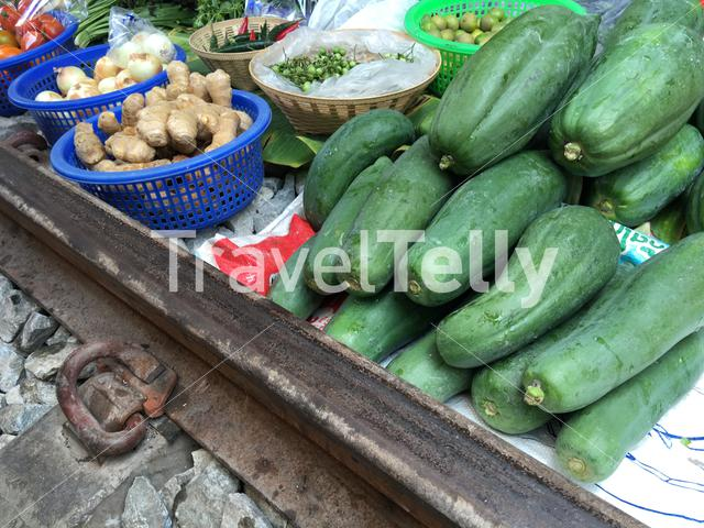 Fruit at the Maeklong Railway Market (Talad Rom Hoop) in Samut Songkhram, Thailand