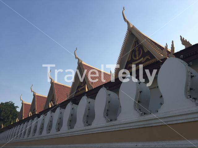 The wall around the Royal Palace in Phnom penh Cambodia