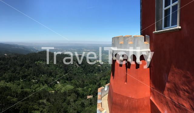 View from a tower of the Pena Palace in Sintra Portugal