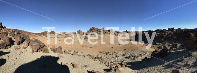 Panorama landscape around Mount Teide a volcano on Tenerife in the Canary Islands