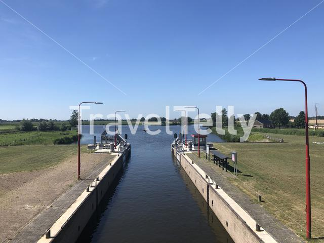 Sea lock at Dokkumer Nije Silen in Friesland The Netherlands