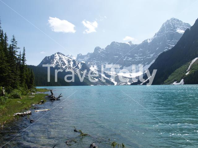 Lake and mountains with snow in Jasper National Park Canada