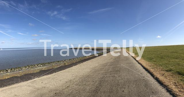 Panorama from the dike at the wadden sea around Zurich in Friesland The Netherlands