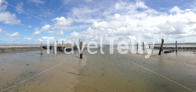 Panorama from a pier during low tide in Texel The Netherlands