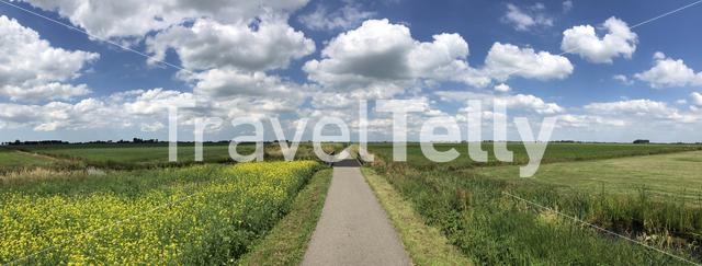 Panorama from around Oudega in Friesland, The Netherlands