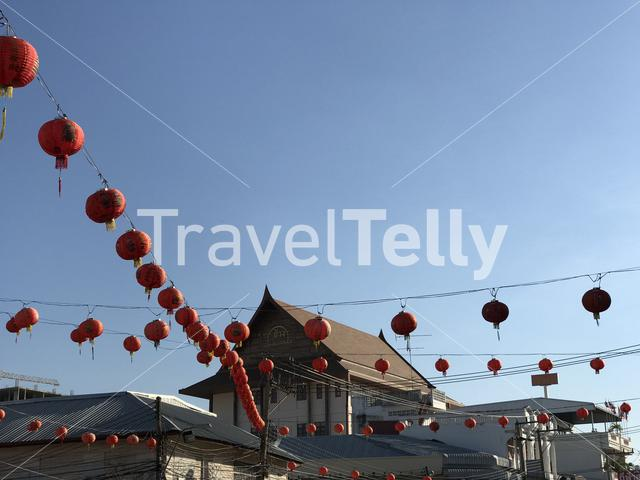Chinese lanterns in the street of Surin Thailand