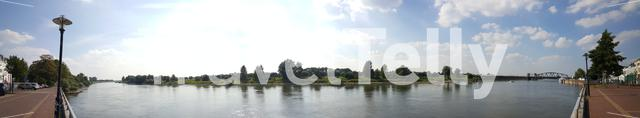 Panorama from the IJsselkade and IJssel river in Zutphen The Netherlands