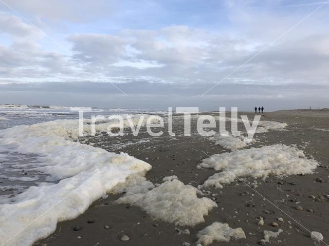 Foam at Texel beach in The Netherlands