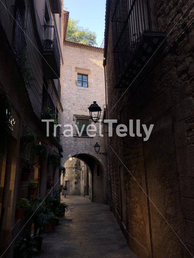 Street in the old town of Barcelona, Spain