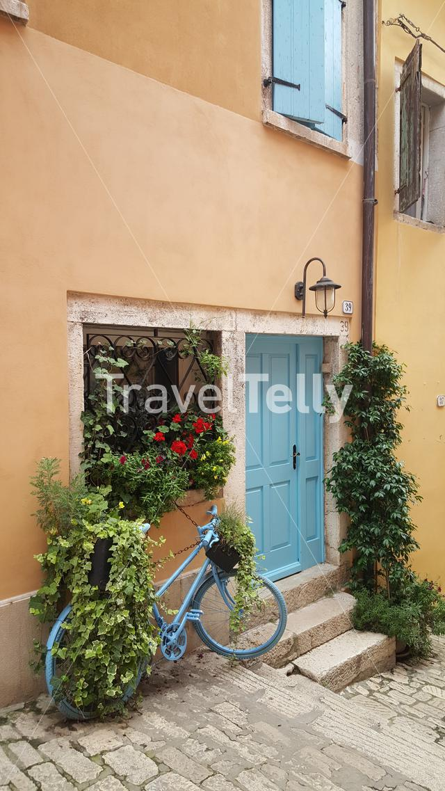Decoration bike in front of old house in Croatia