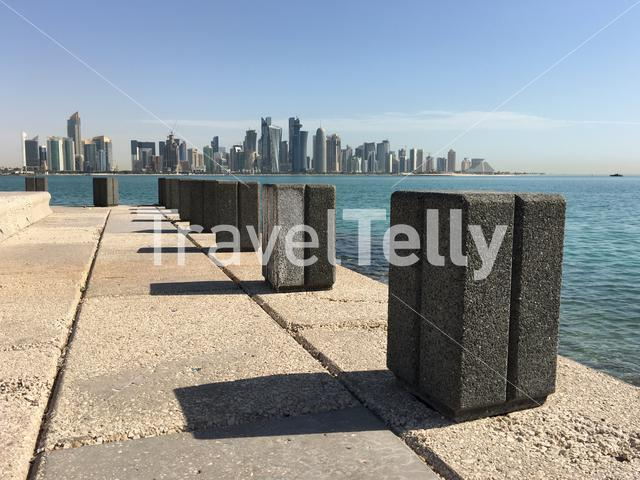 The Corniche with the Doha skyline in Qatar