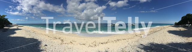 Panorama from diving boats close to the beach of Balicasag Island in Bohol the Philippines
