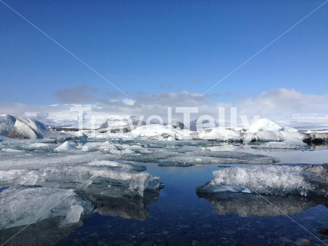 Jökulsárlón Glacier lagoon southeast Iceland with big pieces of ice in the morning