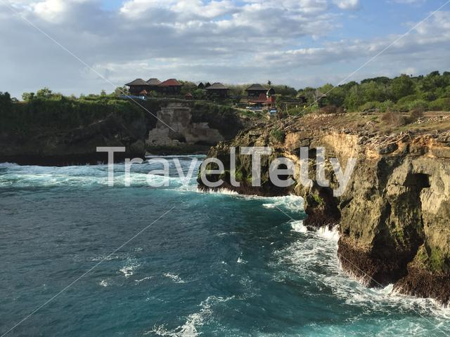 Rocky coast from the Nusa Lembongan island in Indonesia