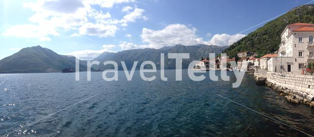 Panorama from Perast is an old town on the Bay of Kotor in Montenegro