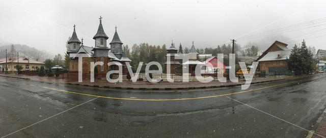 Panorama from a church in Caribaba Romania on a snowy day