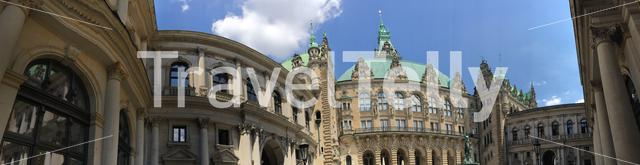 Panorama from the Hamburg Rathaus is the the city hall of Hamburg, Germany