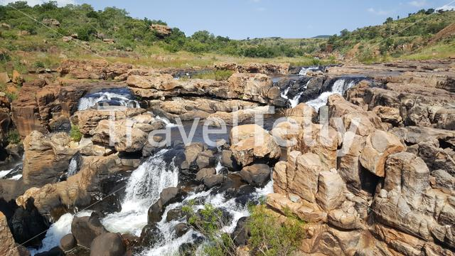 Waterfall at Bourke's Luck Potholes in South Africa