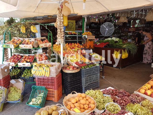 Fresh fruit and vegetables on stall in Corfu, Greece