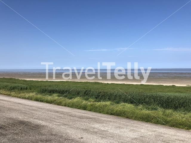 Wadden sea during low tide in Friesland, The Netherlands