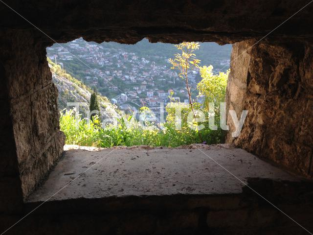 Look through from the fortifications of Kotor in Montenegro