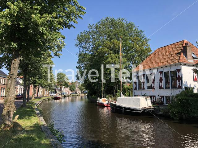 Canal in Aldeboarn, Friesland The Netherlands