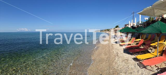 Panorama from Limenaria Beach in Thassos Greece