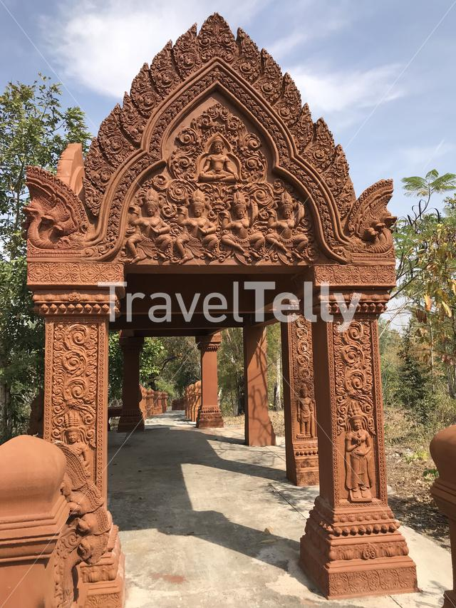 A Khmer style gate and path at Phanom Sawai Forest Park in Thailand