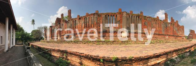 Panorama from Wat Thammikarat a Buddhist temple in the city of Ayutthaya, Thailand