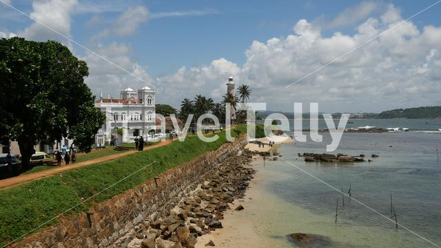Galle fort, lighthouse and the Meera Mosque in Sri Lanka