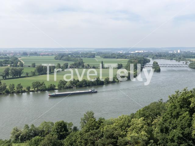 The Danube river with a ship seen from the Walhalla in Donaustauf, Germany