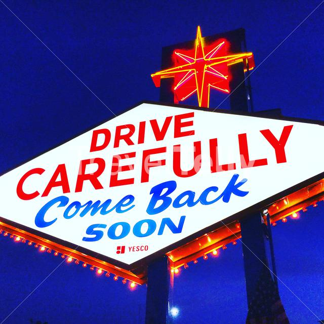 Drive carefully. Come back soon, back of the Vegas sign. Las Vegas, Nevada Eyespiration in blue hour photo walk