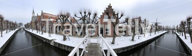 Panorama from the canal in Sloten during winter