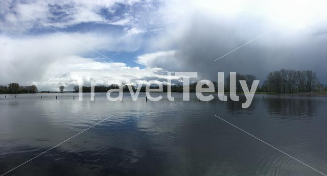 Panorama from dark clouds above the Potten in Friesland, The Netherlands