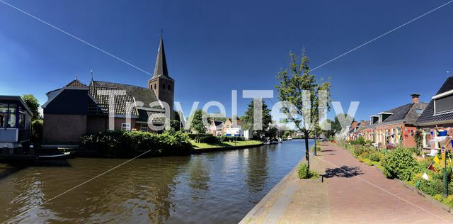 Panorama from the village Warten, Friesland The Netherlands