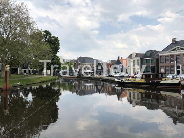Canal around the city Heerenveen in The Netherlands